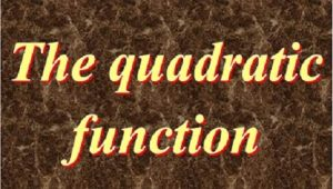 2.2 The quadratic function