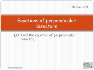Equation of the perpendicular bisector